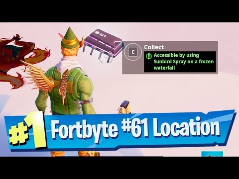 Fortnite Fortbyte #61 Location - Accessible By Using Sunbird Spray On A Frozen Waterfall