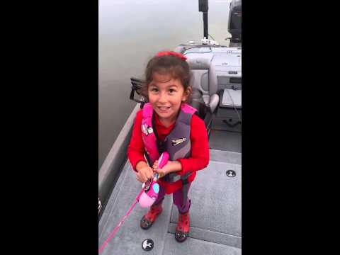 Little Girl Catches Hug Bass Using Toy Barbie Fishing