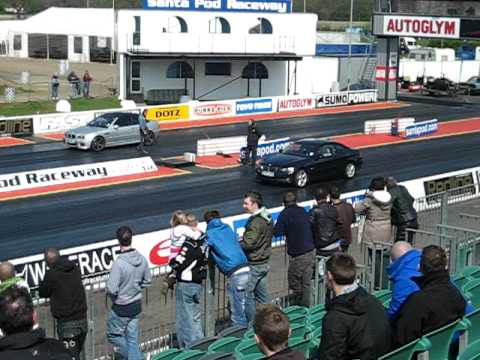BMW 335d vs BMW E46 M3 drag race at Santa Pod Quartermile.