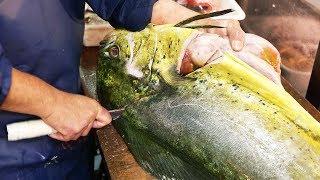 Video Japanese Street Food - GIANT MAHI MAHI FISH Japan Seafood MP3, 3GP, MP4, WEBM, AVI, FLV Desember 2018