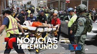 Video oficial de Noticias Telemundo. Violentos disturbios tras marcha de supremacistas blancos y neonazis en Virginia; muere...