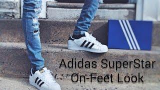 Adidas Superstar White Red On Feet