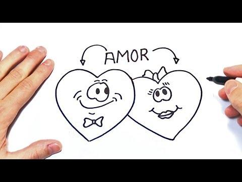 Como dibujar dos Corazones Enamorados  Dibujos de Amor