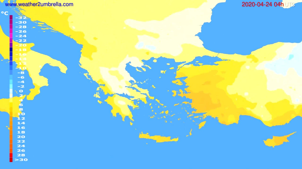 Temperature forecast Greece // modelrun: 12h UTC 2020-04-23