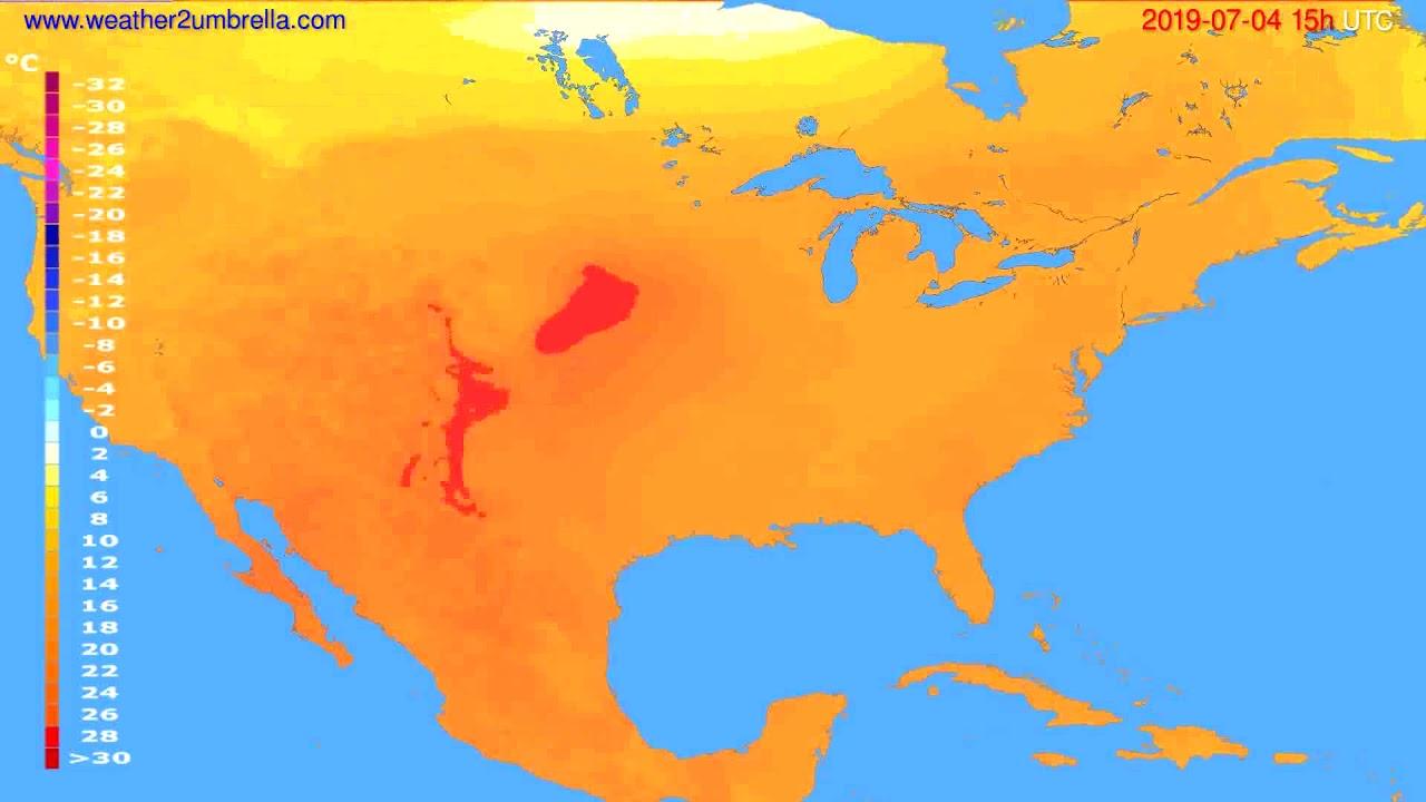 Temperature forecast USA & Canada // modelrun: 12h UTC 2019-07-01