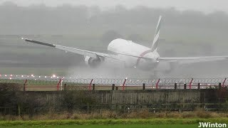 EXTREME Hard Landing and GO AROUND Emirates 777 at Newcastle Airport