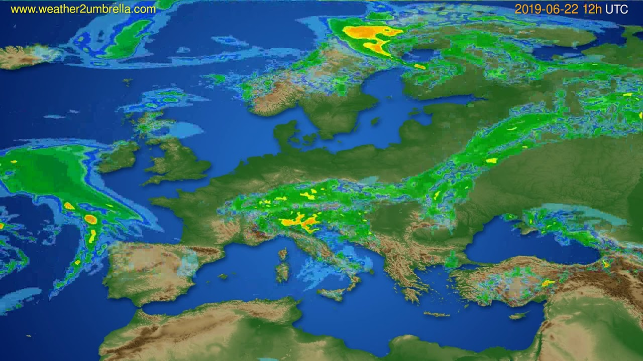 Radar forecast Europe // modelrun: 00h UTC 2019-06-22