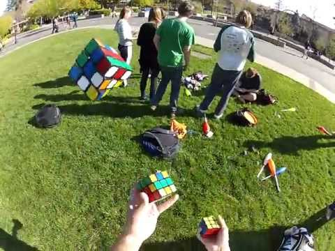 juggling - Filmed by popular request. It's too bad about that drop at the end. Start: 0:26. Cubes solved at 1:38, 4:15, and 5:55. Near-drop at 2:03.