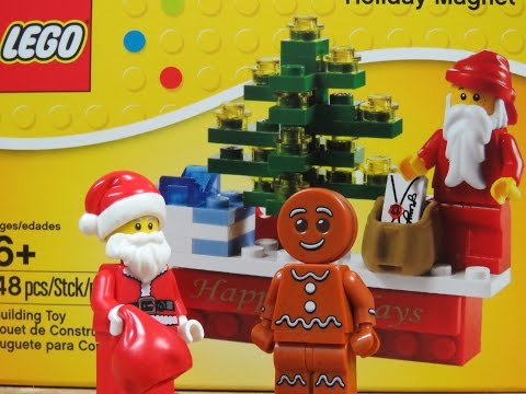 Lego Christmas Gingerbread  Man and Holiday Magnet