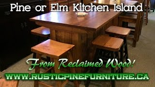 Mennonite Rustic Pine or Elm Kitchen Island