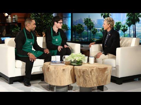 艾倫在節目上送給了這位自閉症咖啡師一個「小費箱」,但當她把手伸進裡頭之後…男孩馬上就痛哭了!