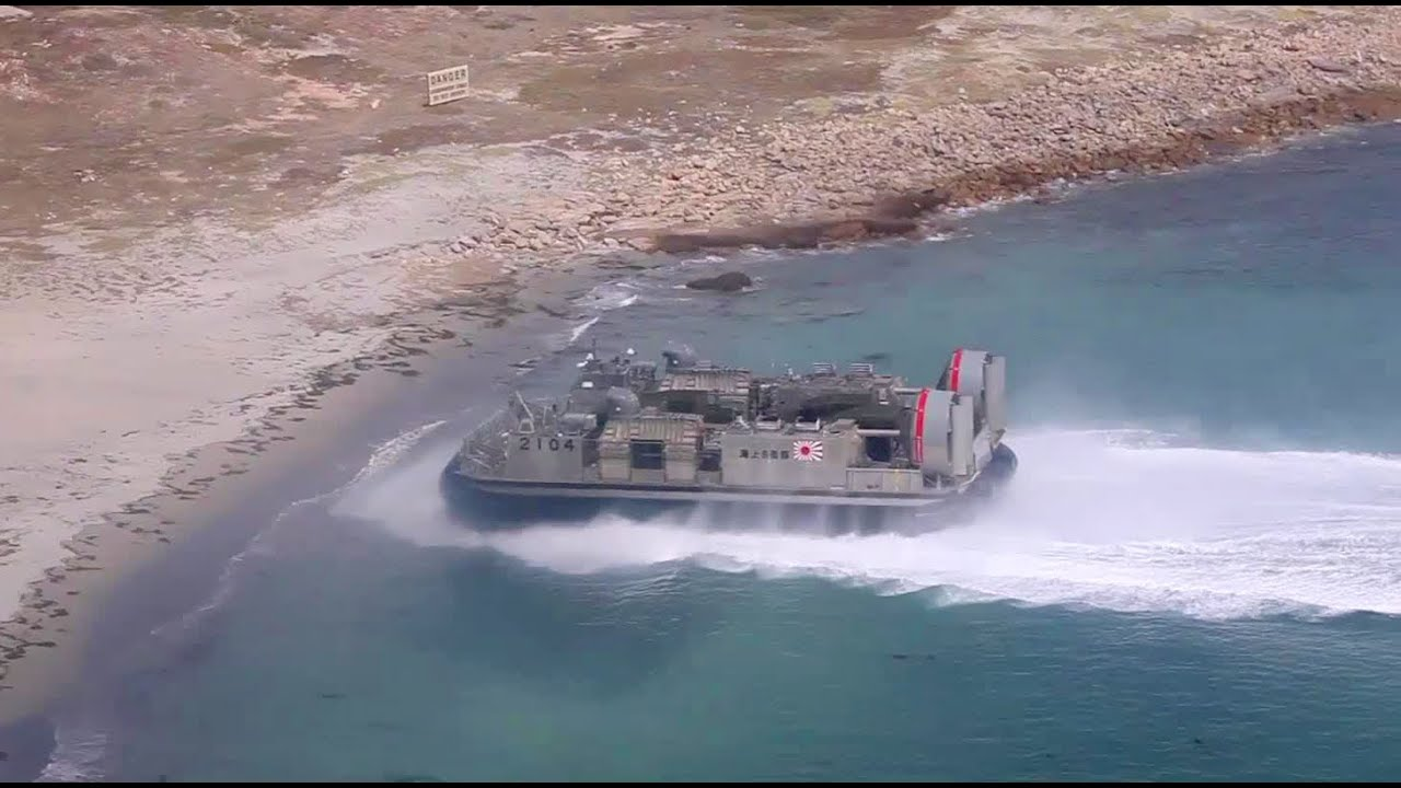 Aerial View: Japanese LCAC Hovercraft Launches From JDS Shimokita | AiirSource