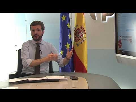 Intervención de Pablo Casado tras reunirse por videoconferencia con los presidentes autonómicos PP