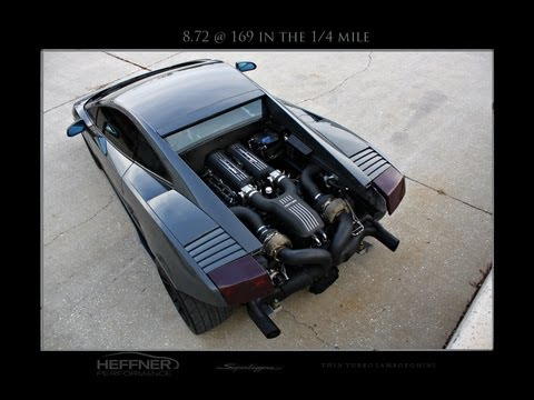 Heffnertwinturbo - Video footage of the world's first Lamborghini Gallardo to break the eight second barrier in the 1/4 mile. This car was built by the team at Heffner Performa...