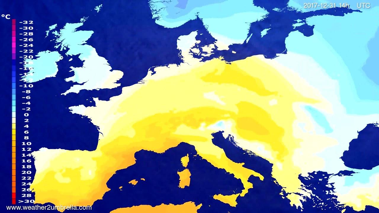 Temperature forecast Europe 2017-12-29