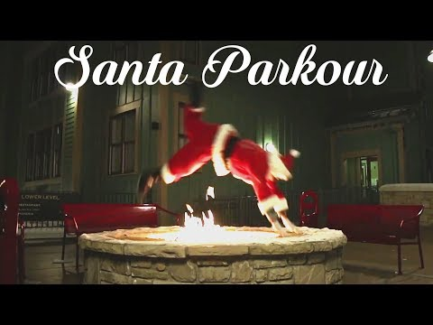 Santa Gets From House to House With Cool Free Running Stunts