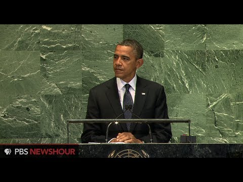 United Nations - For more coverage: http://to.pbs.org/SQlyrS President Obama addresses the 67th U.N. General Assembly in New York with a focus on quelling violence spreading ...