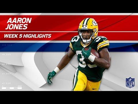 Video: Aaron Jones' Huge Day w/ 1 TD & 125 Rushing Yards!   Packers vs. Cowboys   Wk 5 Player Highlights