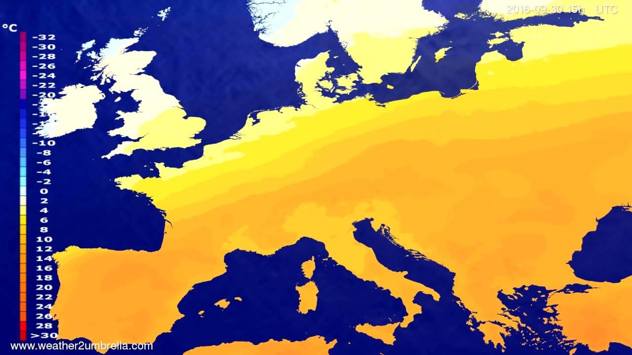 Temperature forecast Europe 2016-09-28