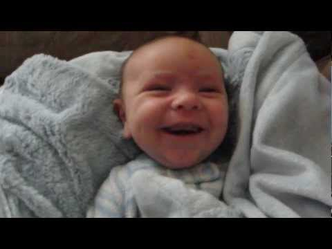 Cute baby wakes up with every emotion