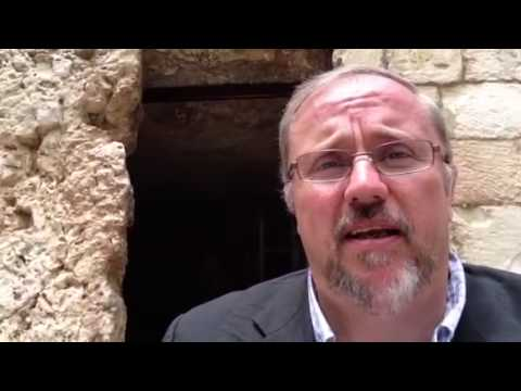 sitting - Pastor Paul Begley sitting at the door of the Garden Tomb http://www.paulbegleyprophecy.com.
