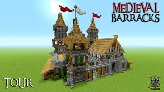Minecraft: How To Build A Castle / Barracks Tutorial? ( Medieval ) TOUR