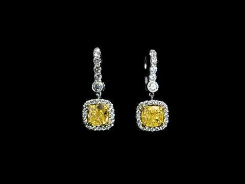 18k White/Yellow Gold 4ct (TDW) Fancy Intense Yellow Diamond Earrings