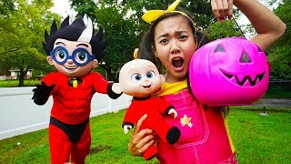 Halloween Trick or Treat with Paw Patrol Chase, PJ Masks Gekko Costume, Incredibles 2 Jack Jack