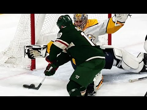 Video: Pekka Rinne dives and flails to rob the Wild