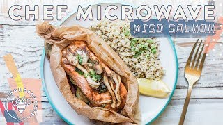 Hey #BuzyBeez today I'm back with another Chef Microwave video this time a Miso Salmon and Coconut Quinoa Dinner!SUBSCRIBE: https://www.youtube.com/user/honeysucklecatering?sub_confirmation=13 Dorm Meals Chef Microwave: https://youtu.be/2VBRpUe8idw5 DIY Marinades: https://youtu.be/1Qan6reIHS8Denim Top: http://shopstyle.it/l/ceJAKitchenAid Mixer: http://shopstyle.it/l/bZfsLe Creuset Dutch Oven: http://shopstyle.it/l/bPXmSmeg Toaster: http://shopstyle.it/l/bPXrRaccoon Salt Jar: http://bit.ly/2tzMFoUMicrowave Coconut Quinoa:1/2 cup Quinoa (rinse & drain)1/2 tsp Kosher Salt1/4 tsp Minced Ginger1/2 cup Coconut Milk3/4 cup WaterMicrowave 5 min. Then remove and stir, finish microwaving 3 min. Allow to cool and finish absorbing the liquidQuinoa Stovetop Method: Place all ingredients in a pot.Boil without lid on medium high heat until water is almost absorbed (about 10-15 minutes)Turn off heat, add lid to pot and let it sit for 10 minutes. Fluff with fork. Miso Salmon en Pappillote:1 salmon fillet (about 6 oz.)1/2 cup Carrots, Zucchinis, and assorted mushrooms, trimmed and chopped1 tbsp Miso1 tbsp Mirin (rice wine vinegar)½ tsp Sesame Oil½ tbsp Butterminced Scallions (green onions) for garnishIn a small bowl combine the miso and mirin and stir until smooth.Cut a sheet of heavy-duty parchment paper INTO A HEART.Place a vegetables and salmon fillet ON ONE SIDE of paper. Season salmon with salt and pepper.  Top each piece of salmon with half the mushrooms. Add 1 tablespoon of butter to package, and then top with miso sauce.Fold the top and bottom of the package up and over the salmon until the two sides meet, then fold down edge. Fold the left and right edges over and tuck the sides under the pouch. Place in microwave and heat on High for 4 minutes. Stovetop Method: Preheat oven to 350 degrees. Follow directions (1-4) above. Once packet is ready, place on baking sheet and bake for 15 minutes. Serve together with a wedge of Lemon--Honeysuckle Logo by Karli Ingersoll: http://karliingersoll.com/Honeysuckle Bee logo by Spruce Rd: http://www.sprucerd.com/Graphics by Dawn Lee Design: http://www.dawnleedesign.com/Music by Lullatone: https://www.youtube.com/user/lullashawnMaking things Fun, Pretty, and Delicious! Honeysuckle is a lifestyle channel for young adult women interested in entertaining and cooking at home.INSTAGRAM Follow me: instagram.com/honeysucklebeezBLOG: http://www.honeysucklecatering.com/© 2017 Honeysuckle Catering. All Rights Reserved.
