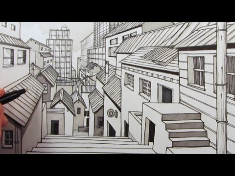 How to Draw a City using One-Point Perspective