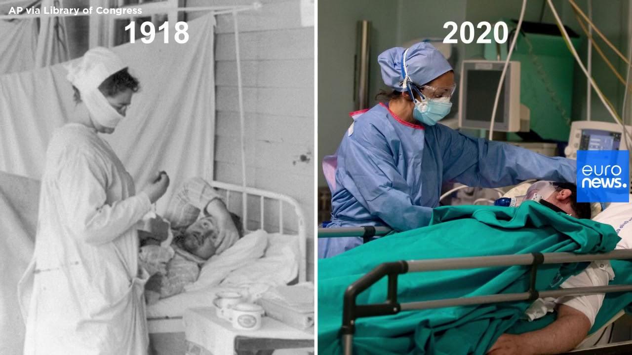 Φωτογραφίες από την Ισπανική γρίπη το 1918 και τον Covid το 2020