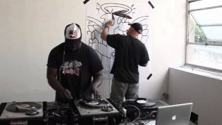 DJ Mech & graffiti artist Kaos practice their crafts!