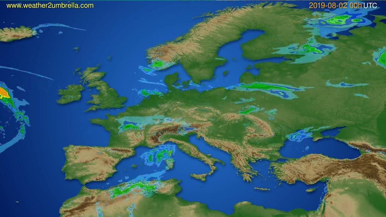 Radar forecast Europe // modelrun: 12h UTC 2019-08-01