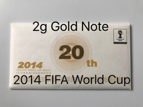 2014 Fifa World Cup Brasil 2g Gold Note