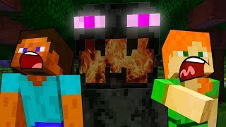 Steve HAUNTED by the ENDERMAN - MINECRAFT STEVE AND BABY ZOMBIE [26]