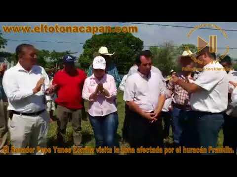 El Senador Pepe Yunes Zorrilla visita la zona afectada por el huracán Franklin.