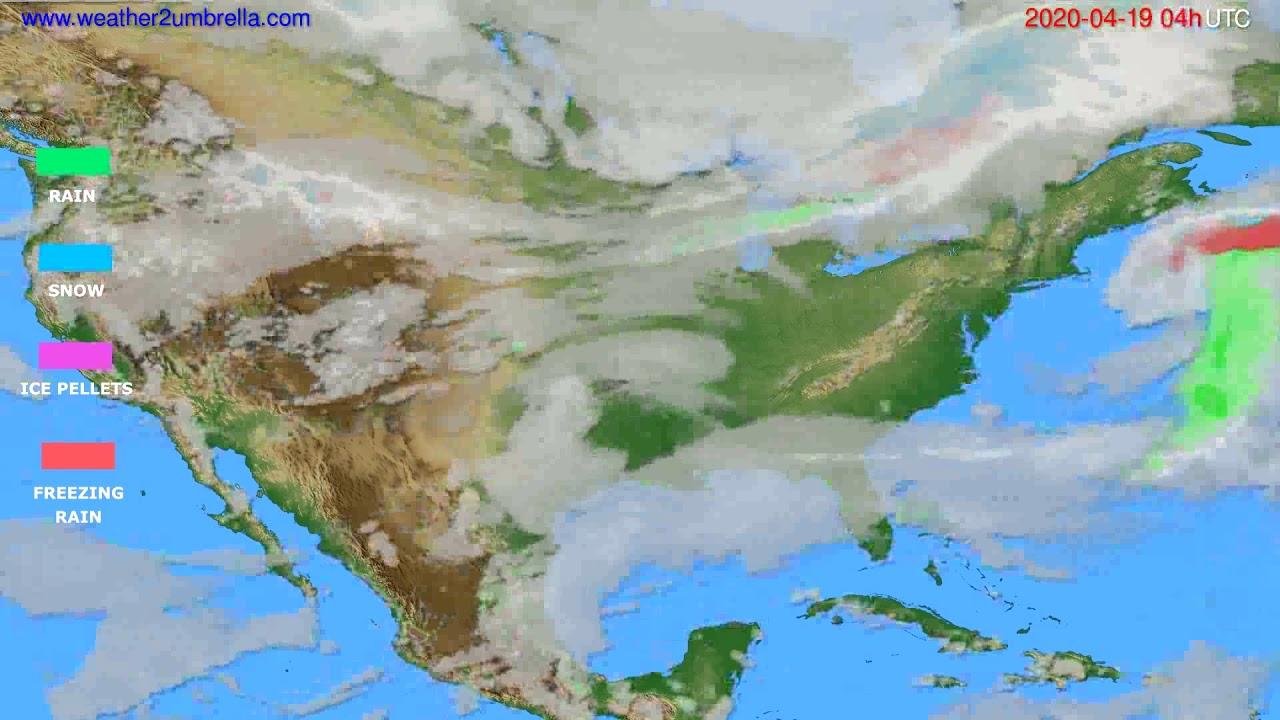 Precipitation forecast USA & Canada // modelrun: 12h UTC 2020-04-18