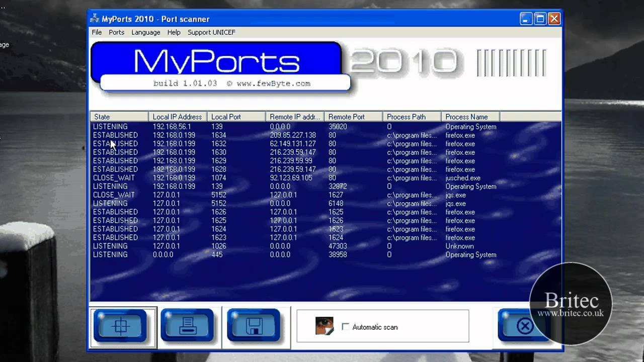 View TCP and UDP Ports With MyPorts For Malicious Activities by Britec