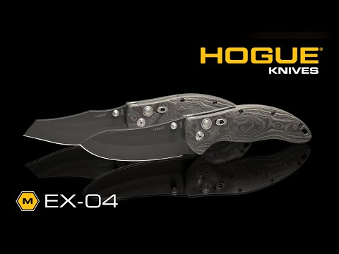 "Hogue Knives EX04 Wharncliffe Knife Black/Gray GMascus (3.5"" Plain) 34469"