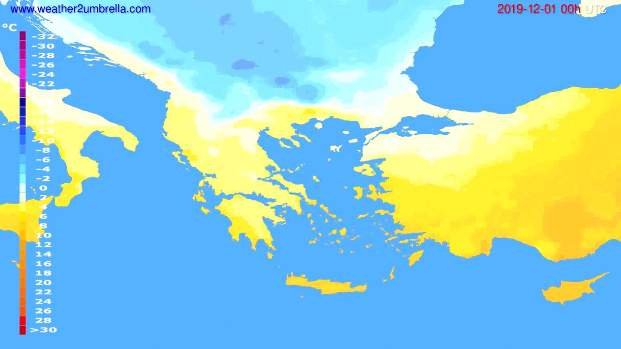 Temperature forecast Greece // modelrun: 00h UTC 2019-11-30