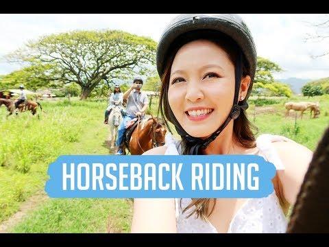 HAWAII: Horseback riding at Kualoa Ranch, Polynesian Cultural Center
