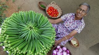 Video Okra Masala Curry ❤ Healthy Village Food by Grandma | Village Life MP3, 3GP, MP4, WEBM, AVI, FLV Maret 2019