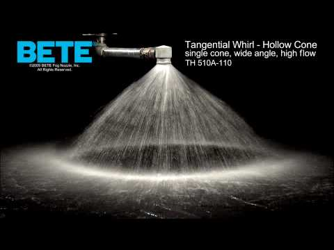 TH 510A-110 - Single Cone, High Flow Hollow Cone Tangential Whirl Spray Pattern Video