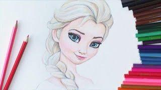 """Уроки рисования. Учимся рисовать Эльзу из """"Холодное Сердце""""How to Draw <em>учусь</em> Elsa"""