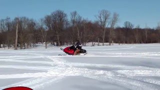 Trying to have some fun in a Yamaha Viper with out adequate snow.