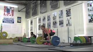 Weightlifting training footage of Catalyst weightlifters. Jessica snatch balance + snatc