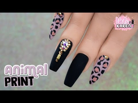 Videos de uñas - DISEÑO ANIMAL PRINT + CRISTALES  De Temporada