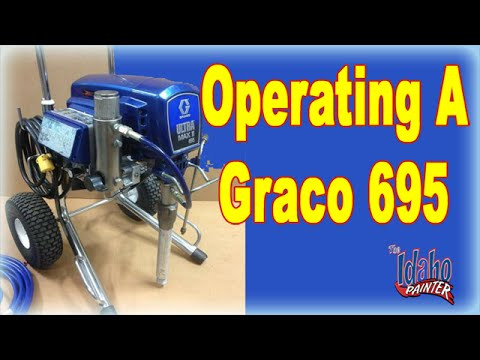 operating a graco 695 - Full instructions on how to operate an airless sprayer including cleaning the filters, lubricating the machine, and loading up the paint to be used. Full det...