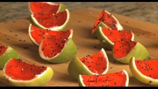 Wackelpudding Shots mit Wodka als Wassermelone